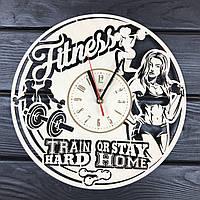 Деревянные часы на стену «Фитнес», фото 1