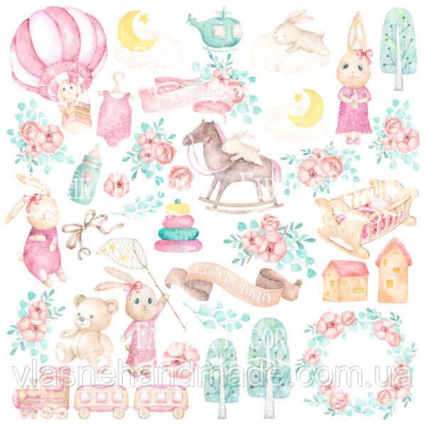 Папір з картинками для вирізання - Dreamy baby girl - Fabrika Decoru - 30x30