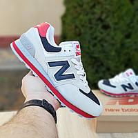 Мужские кроссовки New Balance 574 Серые с синим и красным Реплика