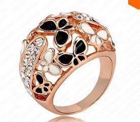 Большое  шикарное Кольцо с покрытием 18K розового золота с австрийскими кристаллами  и эмалью