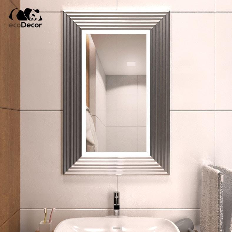 Зеркало с подсветкой серебряное Alanno