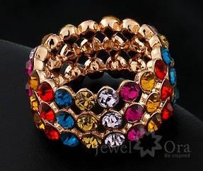 Широкое кольцо  с покрытием  из золота 18К и разноцветными  кристаллами