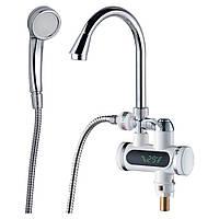 Кран-водонагреватель проточный JZ 3.0кВт 0,4-5бар для ванны гусак ухо на гайке AQUATICA (JZ-6C141W)