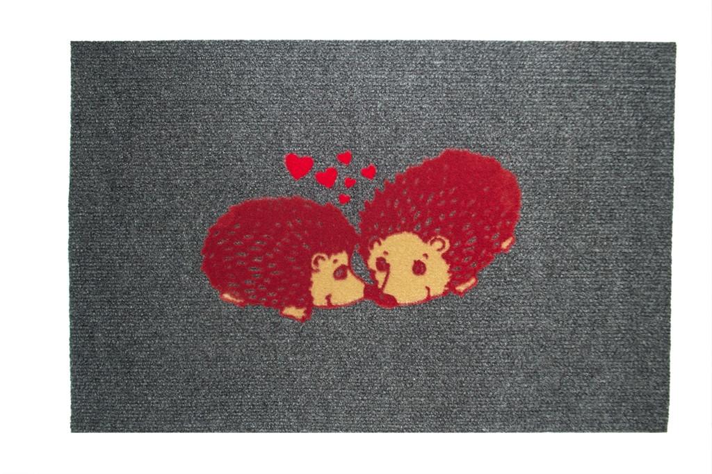 Придверный коврик IzziHome Luna Italyan Gri Sevimli Kirpiler 40x60 (103LUGRSK3128)
