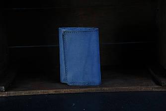 Кошелек тройного сложения Кожа Итальянский краст цвет Синий