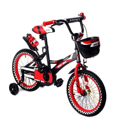 Велосипед двухколесный 16 дюймов 1687-16 черно-красный с корзинкой и светящимся колесом