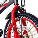 Велосипед двухколесный 16 дюймов 1687-16 черно-красный с корзинкой и светящимся колесом, фото 3