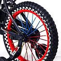 Велосипед двухколесный 16 дюймов 1687-16 черно-красный с корзинкой и светящимся колесом, фото 4