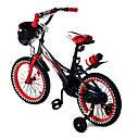 Велосипед двухколесный 16 дюймов 1687-16 черно-красный с корзинкой и светящимся колесом, фото 5