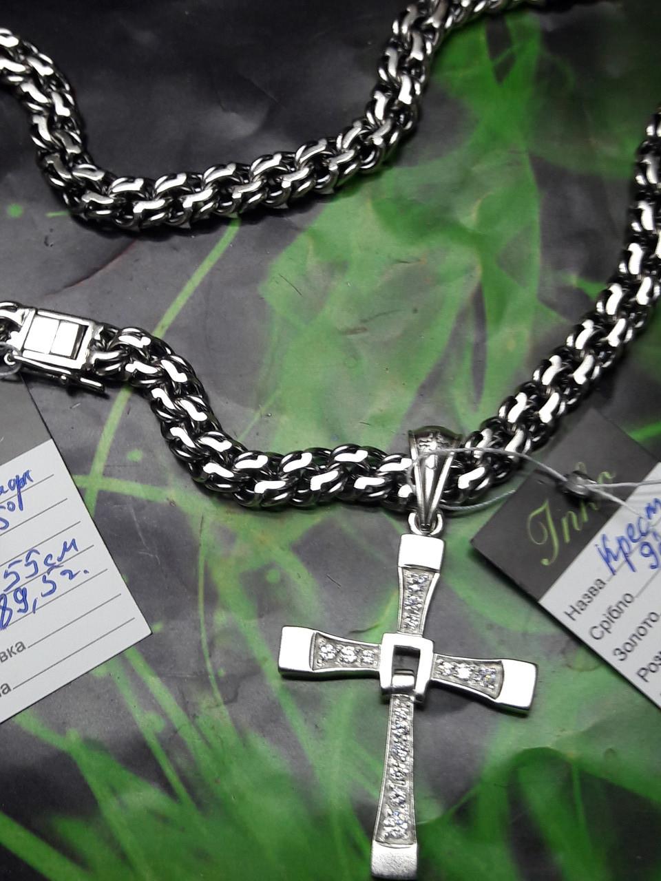 Серебряная цепочка с крестиком Торетто