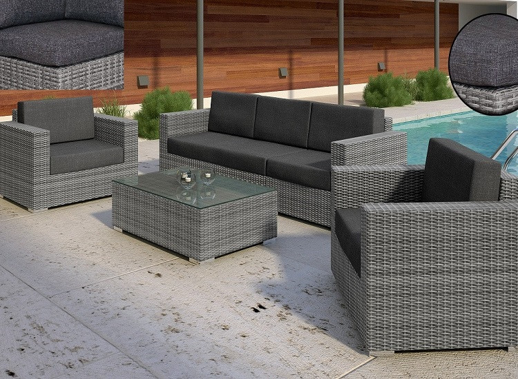 Комплект плетеный BRILLANTE   GREY диван 250см   +2 кресла+ столик