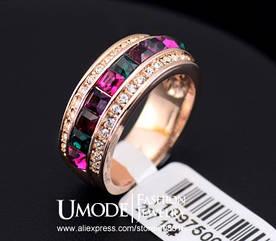 Шикарное Кольцо с покрытием 18K розового золота с разноцветными австрийскими кристаллами