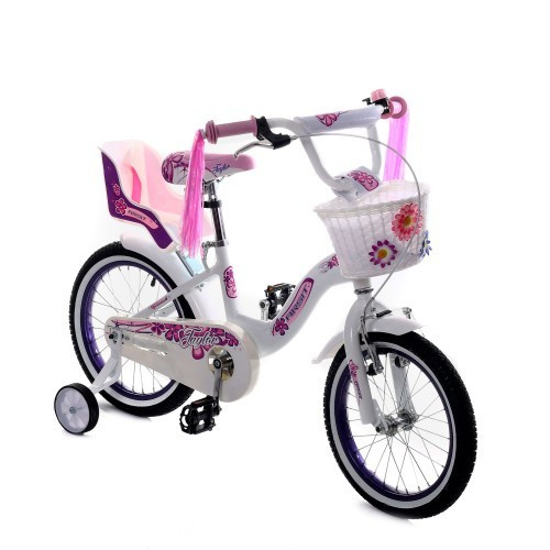Детский велосипед Taylor 16 дюймов 1701-16 белый с корзинкой и сиденьем для куклы