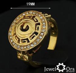Кольцо с покрытием 18K желтого золота с австрийскими кристаллами