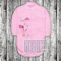 Детский трикотажный боди р 68 3 4 5 месяцев с длинным рукавом на кнопках для малышей ИНТЕРЛОК 3149 Розовый Б