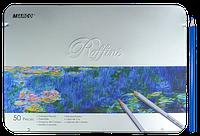 Карандаши цветные Marco Raffine 50 цветов шестигранные в металлическом пенале 7100-50TN