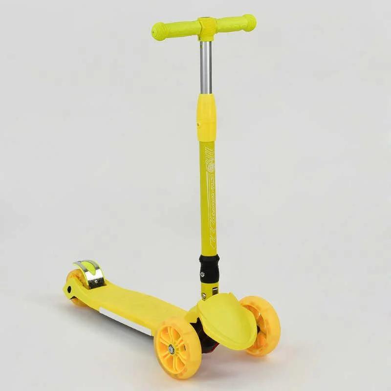 Детский самокат  трехколесный А 24729 / 769-6, жёлтый, складной руль, колёса светятся