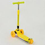 Детский самокат  трехколесный А 24729 / 769-6, жёлтый, складной руль, колёса светятся, фото 2