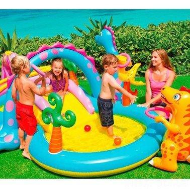 """Детский надувной игровой центр бассейн Intex 57135 """"Планета динозавров"""" 303 см х 229 см х 112 см"""