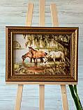 Картина з янтаря Лошади у водопоя, картина з бурштину коні біля водойми 30x40 см, фото 2