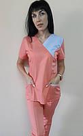 Костюм женский медицинский Грация с рубашечной ткани Таиланд короткий рукав 44 р