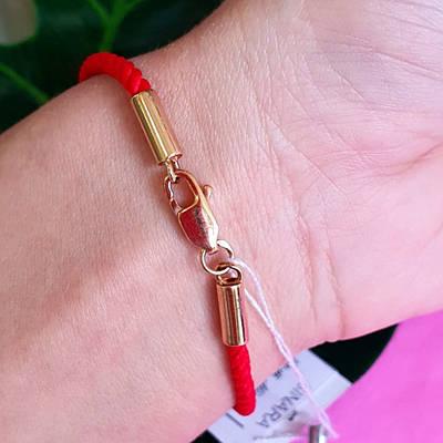 Браслет червона нитка з срібною позолоченою застібкою