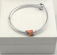 Серебряная подвеска шарм Сердце бусина для браслета Pandora Пандора серебро