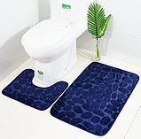 Комплект 2 плюшевих килимка «Галька» 50×80 см чорний, фото 4