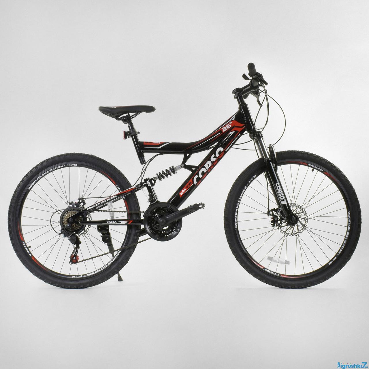 """Велосипед Спортивный CORSO 26""""дюймов 14824 (1) рама металлическая 16'', 21 скорость, собран на 75%"""