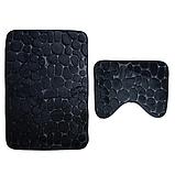 Комплект 2 плюшевих килимка «Галька» 50×80 см чорний, фото 2