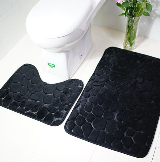 Комплект 2 плюшевих килимка «Галька» 50×80 см чорний