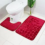 Комплект 2 плюшевих килимка «Галька» 50×80 см чорний, фото 6