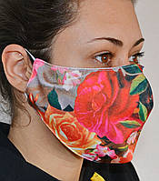 Защитная маска для лица трехслойная многоразовая тканевая, фото 1