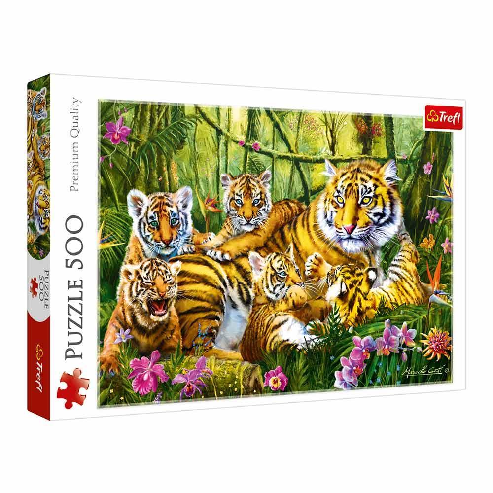 Пазл 500 Trefl Сімейство Тигрів (Family of tigers)