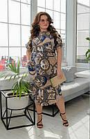 Красивое платье модного принта, хорошо для работы в офисе р.50-52,54-56,58-60,62-64код 65Е