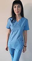 Костюм стрейчевый женский медицинский  Грация короткий рукав 44, Голубой без отделки