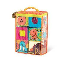 Мягкие кубики-сортеры ABC 6 кубиков в сумочке мягкие цвета Battat BX1477Z, фото 3