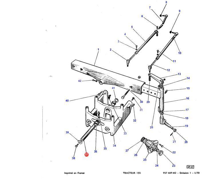 Палець передньої осі L=235mm D=41.8mm Massey Ferguson 1660348M1 485-5.01, 1660348M1