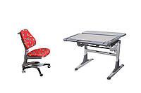 Комплект парта TH-333 ТИК серые вставки на ногах+стул KY-618 RL красный с жуками, фото 1