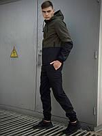 Костюм спортивный мужской демисезонный хаки/черный Softshell Lite, комплект штаны и куртка