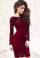 Кружевное гипюровое коктейльное платье бордовое