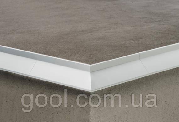 Угол алюминиевый для профиля открытого балкона и террасы окончание для плитки и свеса капельник отлив серебро