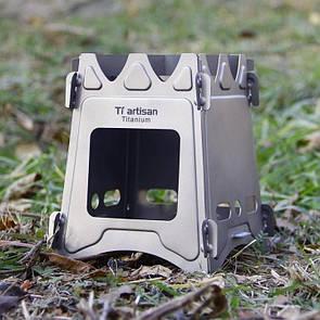 Туристическая титановая печь-щепочница (печка) Tiartisan Titanium. Титанова щепочниця.