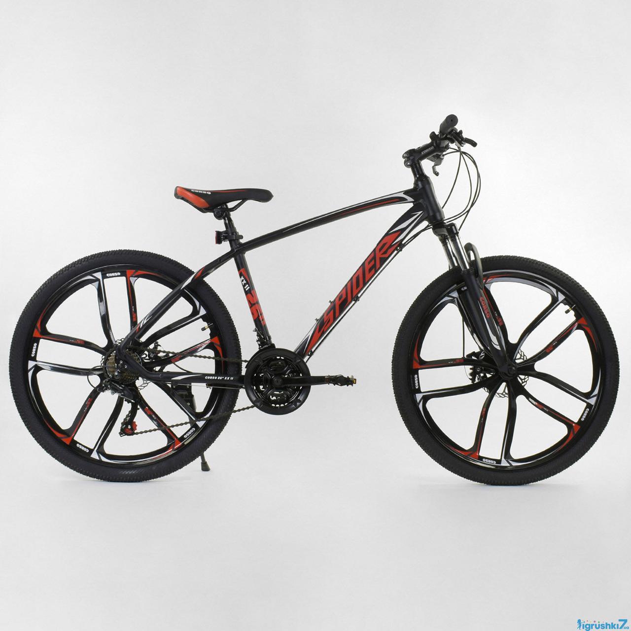 """Велосипед Спортивный CORSO 26""""дюймов 34538 SPIDER (1) рама алюминиевая 17.5'', 21 скорость, собран на 75%"""