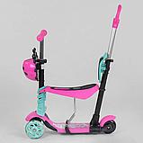 Самокат 5в1  Best Scooter 24931, розово-бирюзовый, PU колеса, подсветка колёс, фото 2