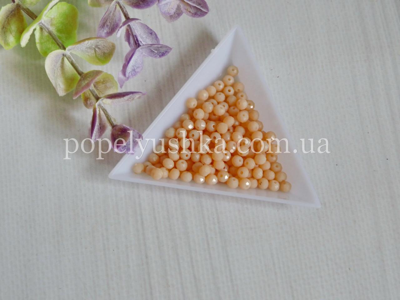 Намистини рондель матові персикові 4*3 мм (50 шт)