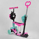 Самокат 5в1  Best Scooter 24931, розово-бирюзовый, PU колеса, подсветка колёс, фото 4