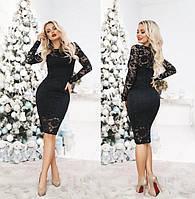 Кружевное гипюровое коктейльное платье длины миди черное