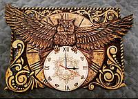 Часы настенные, ручная резьба + выжигание, фото 1