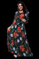 Длинное летнее платье большого размера с поясом цветочный принт D64S-9 длинным рукавом зеленое